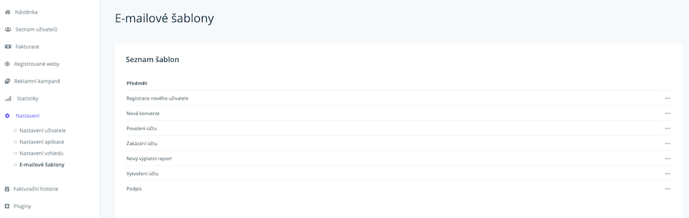 E-mailové šablony v AffilBoxu