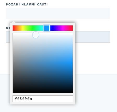 Konkrétní výběr barvy