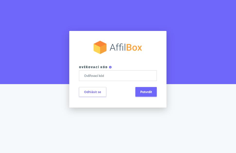 Přihlášení do AffilBoxu s 2FA ověřováním