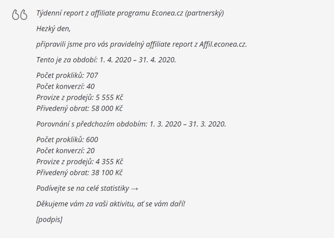 E-mailové reporty pro partnery a inzerenty